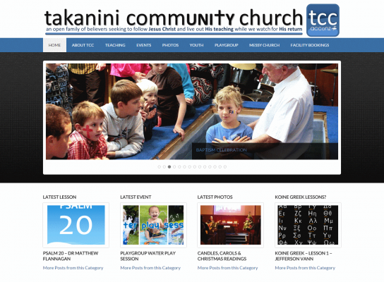 screenshot of responsive web design for Takanini Church - Christian Website Design