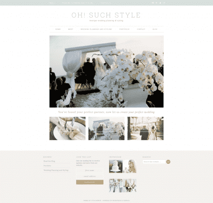 Homepage for Oh Such Style showing the Wedding Event Web Design