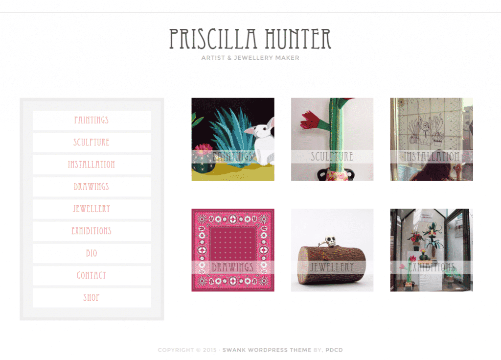 Screen shot of Priscilla Hunter: Artist and Jewellery Maker example of artisan web design