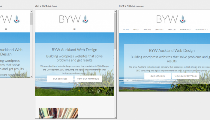 Screenshot of BYW website on responsive web design testing tool