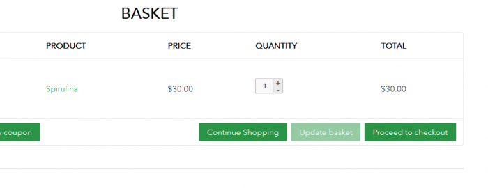 Screenshot of the edit the Proceed to Checkout on Woocommerce Cart page before the change