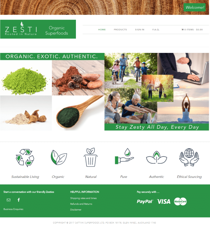 Screenshot of desktop version of the homepage for the Ecommerce Web Design for Organic Superfoods