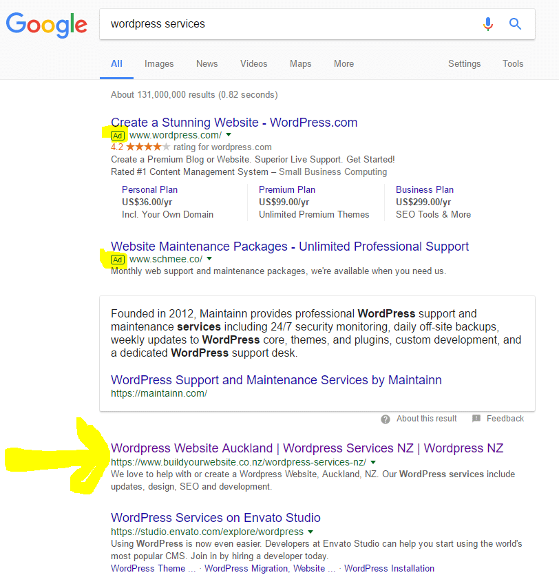 Screenshot of a google search showing paid search marketing results and also highlighted the top organic search