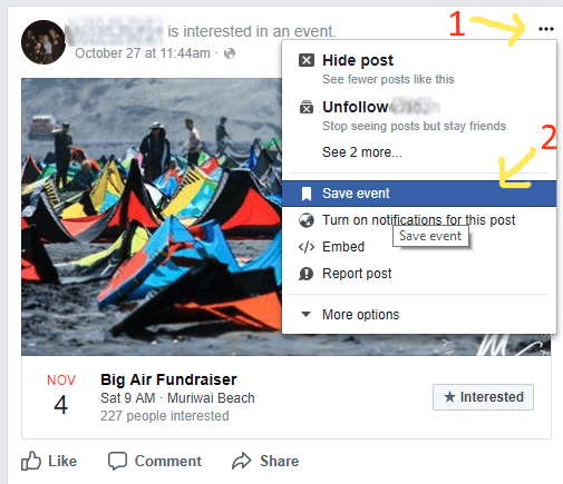 Screenshot showing the Facebook Save Button - Saving an event