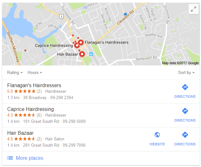 screenshot of a Google Local Search showing google reviews of local businesses