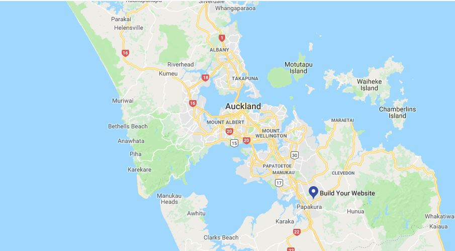 Map of Auckland with pin for Kitchen Table Web Design