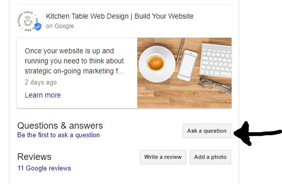 Google My Business, Posts and Features - Kitchen Table Web