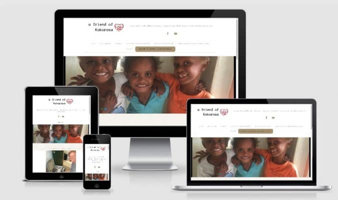 Screenshot of homepage responsive design of Dental Charity Website