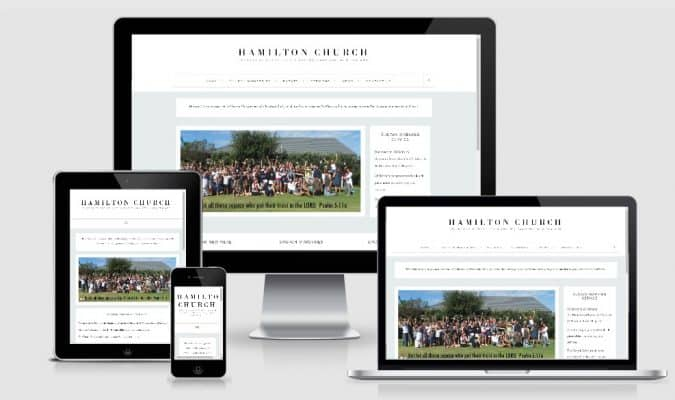 screenshot of responsive web design for Hamilton Church Website