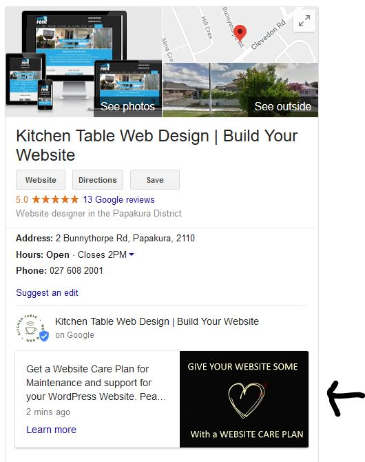 Google My Business Post about website care plan on the Knowledge Panel for Kitchen table Web Design